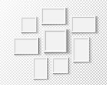 Photo Frames On Wall. White Picture Frame Set. Vector Empty Realistic Gallery.