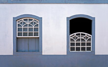 Ancient Colonial Windows In Serro, Minas Gerais, Brazil
