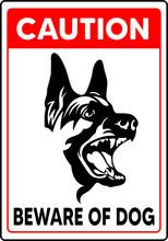 Caution Beware Of Dog Sign Vector Animal Mascot