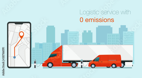Slika na platnu Logistic service with electric vehicles