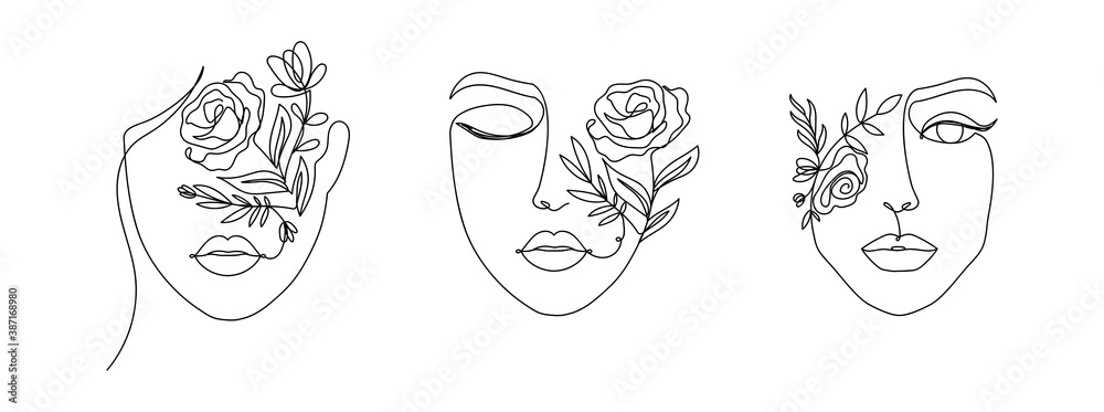 Fototapeta Women's faces in one line art style with flowers and leaves.Continuous line art in elegant style for prints, tattoos, posters, textile, cards etc. Beautiful women face Vector illustration