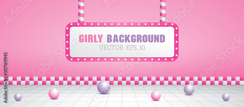 Girly pink scene with light bulb in retro style 3D illustration vector Wallpaper Mural