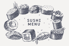 Big Set Of Hand-drawn Sushi And Rolls On Isolated Background. Sushi With Shrimp, Flying Fish Roe, Vegetables. Retro Picture For Menu Of Sushi Bars, Restaurants. Vector Illustration In Engraving Style.
