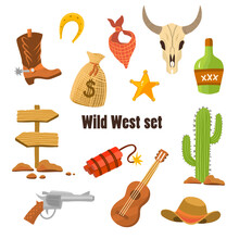 Wild West Cowboy Flat Clip-art With Pistol, Money In Bag, Hat Isolated Vector Illustration. Set For A Real Cowboy. Vector Illustration For Game, Western Style Stickers, Cartoon Cute Flat Stickers