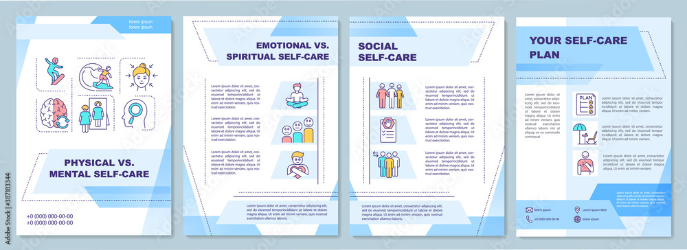 Fototapeta Physical vs mental self-care brochure template. Flyer, booklet, leaflet print, cover design with linear icons. Vector layouts for magazines, annual reports, advertising posters