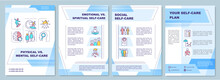 Physical Vs Mental Self-care Brochure Template. Flyer, Booklet, Leaflet Print, Cover Design With Linear Icons. Vector Layouts For Magazines, Annual Reports, Advertising Posters