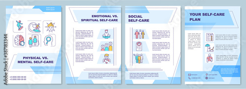Obraz Physical vs mental self-care brochure template. Flyer, booklet, leaflet print, cover design with linear icons. Vector layouts for magazines, annual reports, advertising posters - fototapety do salonu
