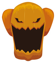 Spooky Pumpkin With Loud Laugh And Dislocated Jaw, Vector Illustration