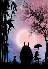 Friendly Wood Spirit Totoro And His Friends Silhouette Art Photo Manipulation