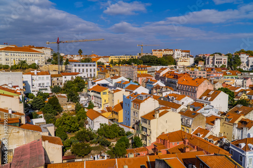 Panoramic aerial view of rooftops of Alfama district in central Lisbon, Portugal Canvas