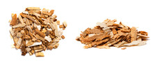 Pear Chips For Smoking Meat And Fish Isolated On White Background. Piles Of Wood Chips From Pear Front And Top View