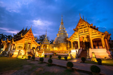 Wat Phra Singh At Dusk, Famous Tourist Attractions Of Chiang Mai, Thailand, 10-11-2019.