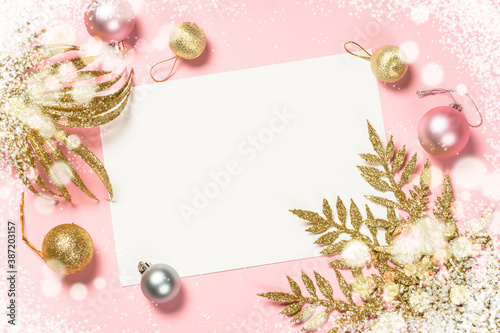 Obraz na plátně Christmas pink flat lay background with present box and decorations