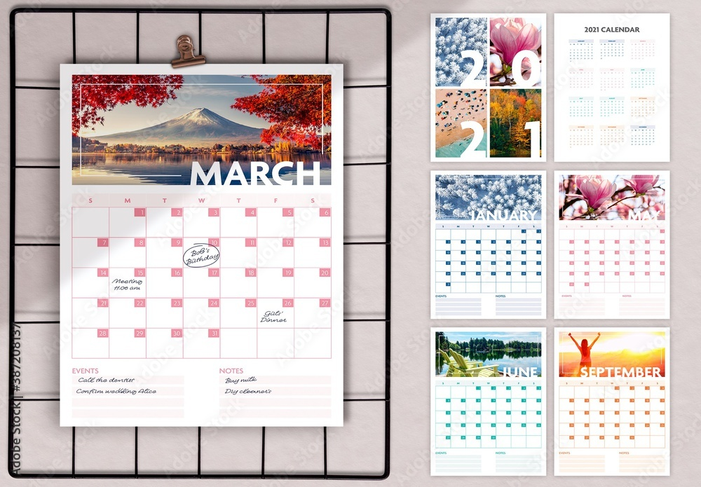 Fototapeta 2021 Seasonal Wall Calendar Layout