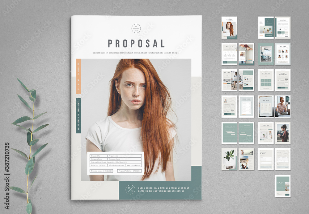 Fototapeta Business Proposal Template with Pale Green and Peach Elements
