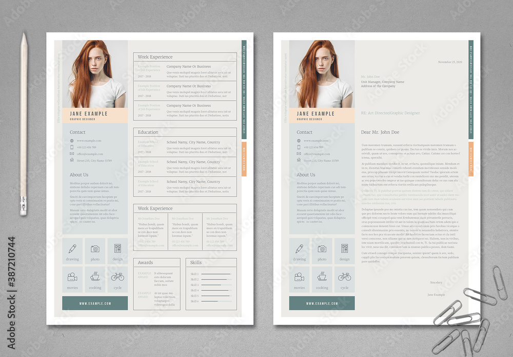 Fototapeta Pale Green and Peach Resume Layout