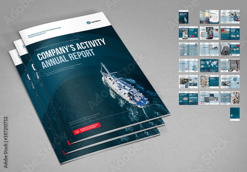Annual Report in Dark Blue and Navy with Red Accents
