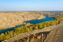 Aerial View Of The Natural Territory Of Romantsevskie Mountains, Russia, Tula Region