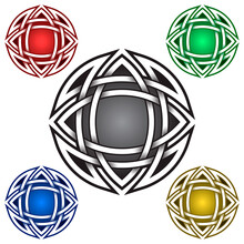 Circular Mandala Logo Symbol In Celtic Style. Tribal Tattoo Symbol. Silver Stamp For Jewelry Design And Samples Of Red, Green, Blue And Golden Colors.