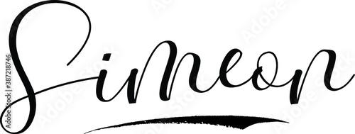 Photo Simeon -Male Name Cursive Calligraphy on White Background