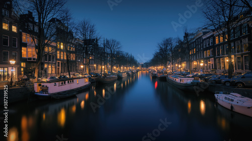 Evening view over the Keizersgracht canal in Amsterdam