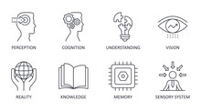 Vector Set Of Perception Icons. Editable Stroke. Knowledge Understanding Reality Sensory System Cognition Memory Vision