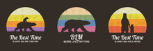 Set Of Multicolor Retro Illustrations With Silhouettes Of Polar Bears. Animal Mother And Child. Texture Backgrounds With Big Endangered Animals In Wild. Vector Vintage Design For Print, T-shirt