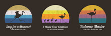 Set Of Multicolor Retro Illustrations With Silhouettes Of Flamingos. Animal Mother And Children. Texture Backgrounds With Endangered Bird In Wild. Vector Vintage Designs For Prints, T-shirts