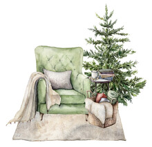 Watercolor Winter Card With Christmas Interior. Hand Painted Holiday Illustration With Armchair, Carpet, Christmas Tree And Book Isolated On White Background. For Design, Print, Fabric Or Background.
