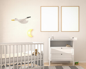 Nursery childrens bedroom with toys and two mockup picture frames. 3d render