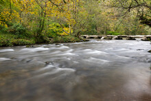 View Of The Clapper Bridge At Tarr Steps In Exmoor National Park