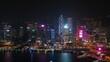 night time illuminated hong kong city downtown traffic bay aerial panorama 4k