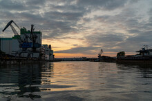 Sunset Over The Port Of Braunschweig Germany