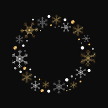 Vector Round Frame With Snowfl...