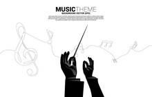 Vector Conductor Hand With Music Melody Note Dancing Flow From Single Line . Concept Background For Song And Concert Theme.