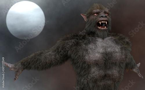 Fototapeta Lycan Werewolf against the background of the full moon 3d illustration