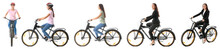 Sporty Young Woman Riding Bicycle Against White Background