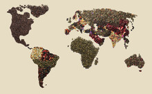 World Map Made Of Dry Tea On L...