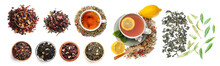 Different Fruit Tea On White Background