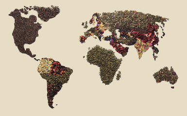 World map made of dry tea on light background