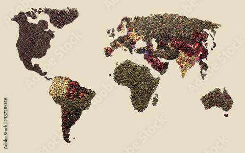 World map made of dry tea on light background Fototapet