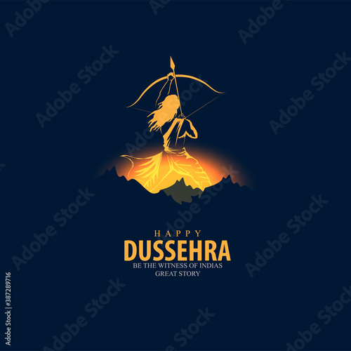 innovative vector illustration of Happy Dussehra festival of India Canvas Print