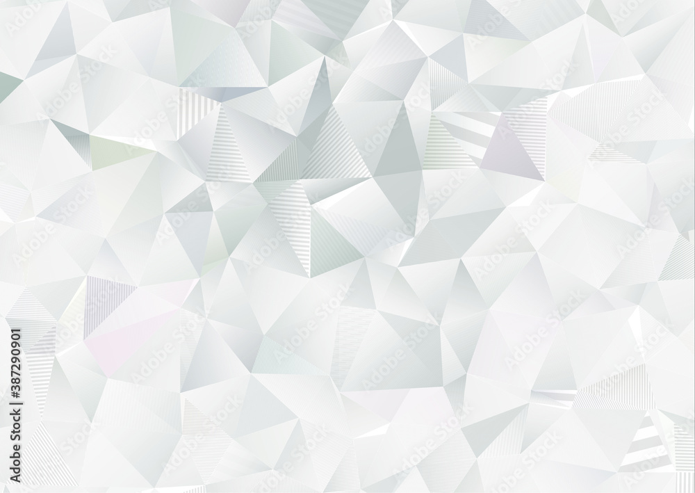 Fototapeta Abstract white geometric 3D background. Abstract Black and White Lowpoly background. White abstract low-poly, polygonal triangular mosaic background for presentations and prints. Vector illustration.