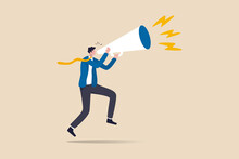Business Shout Out, Speaking Out Loud To Communicate With Co-worker Or Draw Attention And Announce Promotion Concept, Confidence Young Businessman Using Megaphone Speak Out Loud To Be Heard In Public.