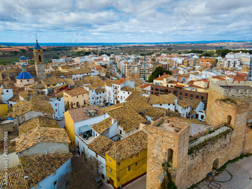 Obraz Aerial view of Castle towers and fortress in old town of Requena, Spain - fototapety do salonu