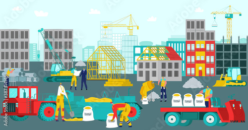 Obraz Construction site, vector illustration. Build house work design, building industry with worker background. Crane equipment at flat architecture future home, industrial development. - fototapety do salonu