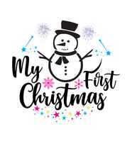 My First Christmas Svg With Merry Christmas Snowman.
