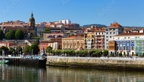 Panoramic view of embankment in Portugalete city from Estuary of Bilbao, Spain Canvas Print