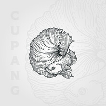 Betta Fish Vintage Line Art Logo Vector Illustration Design