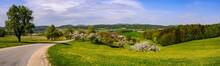 Panoramic View Of A Rural Landscape In The Austrian Region Mühlviertel Near Unterweitersdorf
